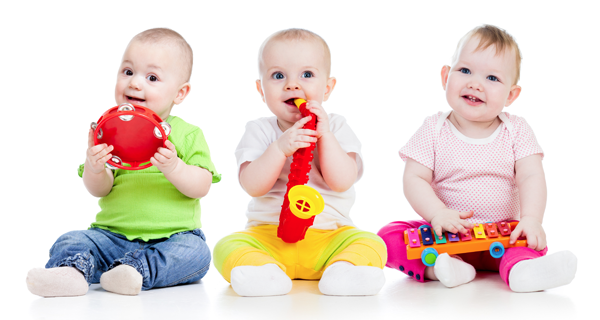 three babies with instruments